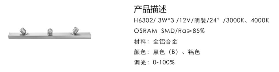 H6302/3W*3/12V/明裝/24°/3000K、4000K