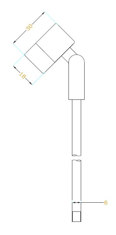 1W功率立杆式射灯H6304尺寸图