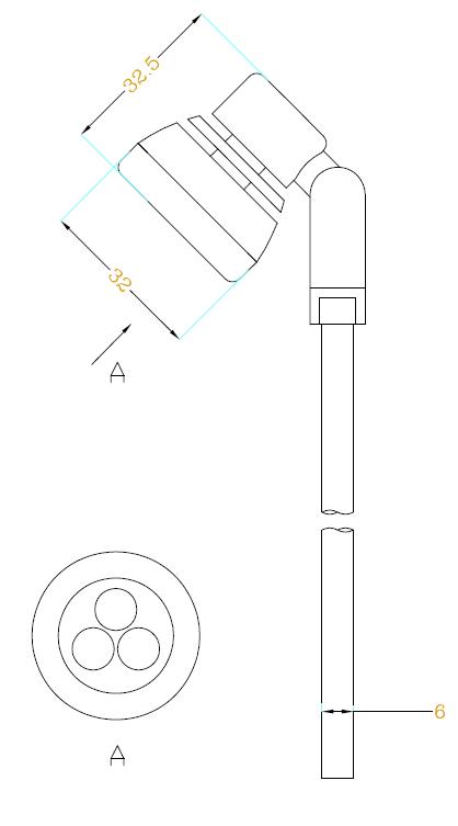 冷光源博物展柜射灯H630尺寸图