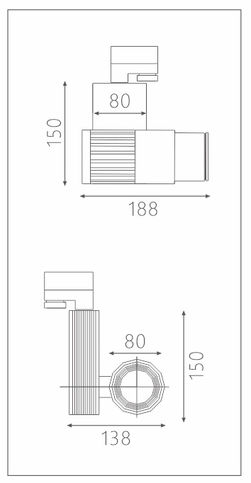 H3221led博物导轨灯具尺寸图