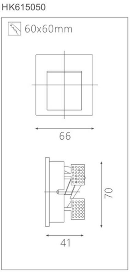 天花射燈HK615050燈具截面圖