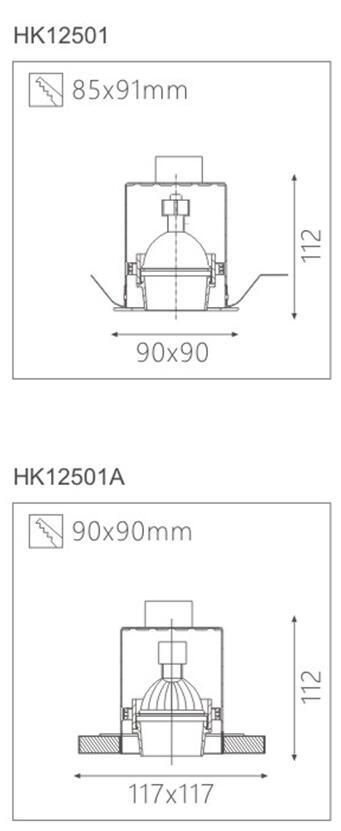 天花射灯灯具HK62511截面图
