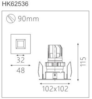 天花射灯HK62537截面图