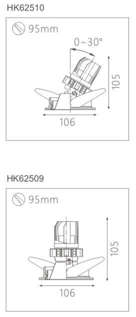 天花射灯HK62510截面图