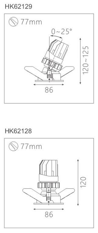 天花射灯HK62129截面图