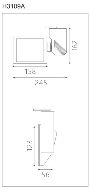 H3109Aled博物导轨灯具尺寸图