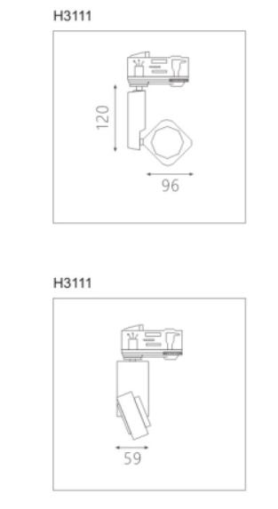 H3111led博物导轨灯具尺寸图