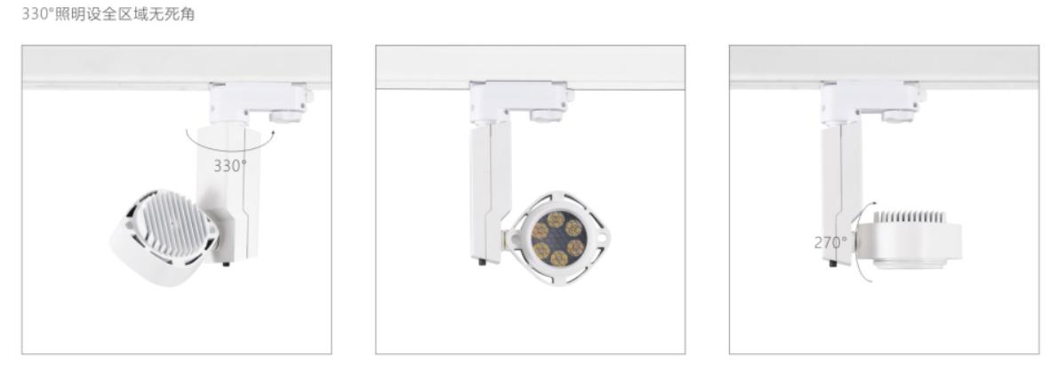 H3111led博物導軌燈具硬件旋轉角度