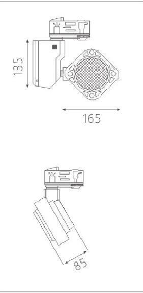 H3112led博物导轨灯具尺寸图