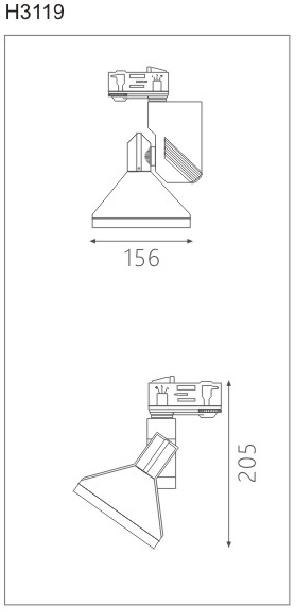 H3119led博物導軌燈具尺寸圖