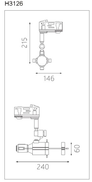 H3126led博物導軌燈具尺寸圖