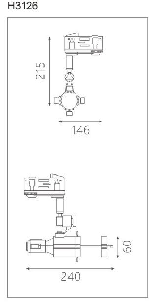 H3126led博物导轨灯具尺寸图