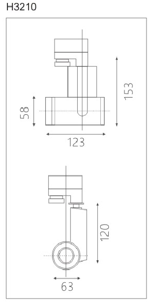 H3210led博物导轨灯具尺寸图